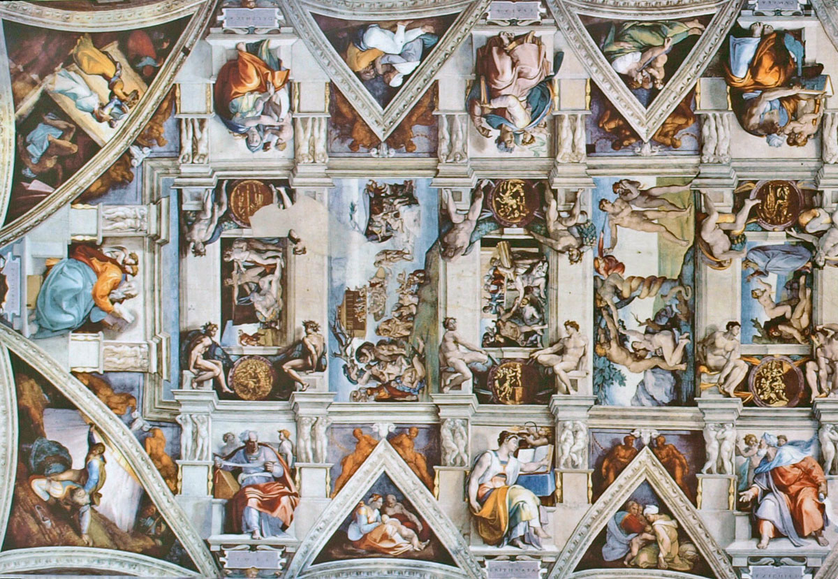 sistine chapel ceiling flattened 1 A Flattened View of the Incredible Sistine Chapel Ceiling