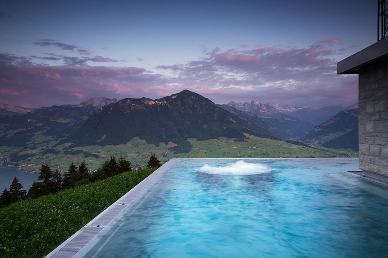 stairway to heaven infinity pool hotel villa honegg switzerland 10 People are Calling This Rooftop Infinity Pool in the Swiss Alps the Stairway to Heaven