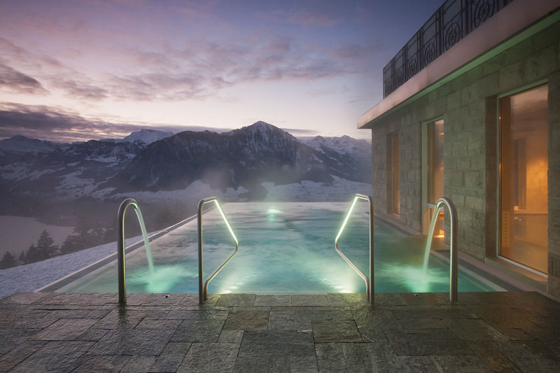 stairway to heaven infinity pool hotel villa honegg switzerland 14 People are Calling This Rooftop Infinity Pool in the Swiss Alps the Stairway to Heaven