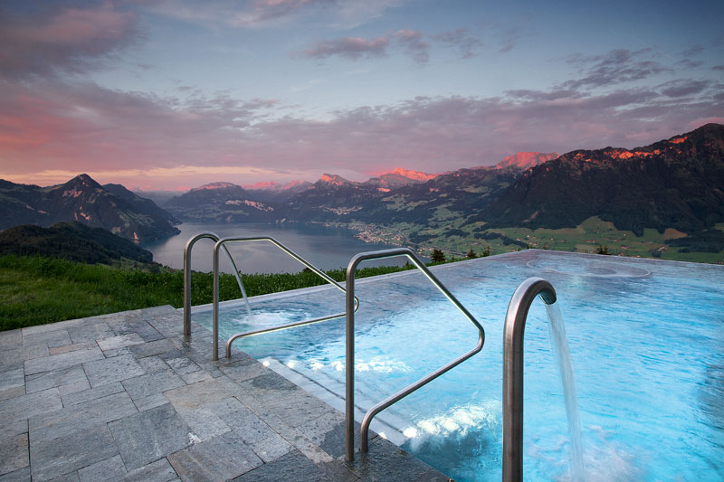 stairway to heaven infinity pool hotel villa honegg switzerland 15 People are Calling This Rooftop Infinity Pool in the Swiss Alps the Stairway to Heaven