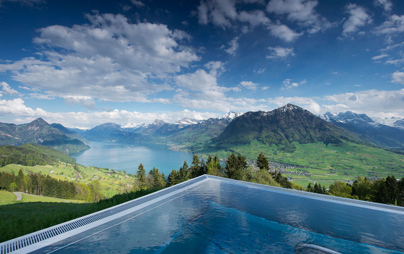 stairway to heaven infinity pool hotel villa honegg switzerland 3 People are Calling This Rooftop Infinity Pool in the Swiss Alps the Stairway to Heaven