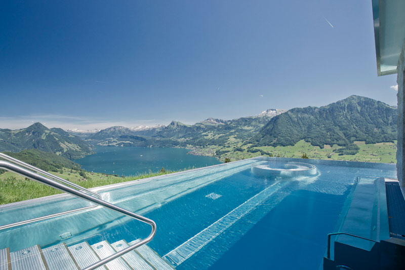 stairway to heaven infinity pool hotel villa honegg switzerland 4 People are Calling This Rooftop Infinity Pool in the Swiss Alps the Stairway to Heaven