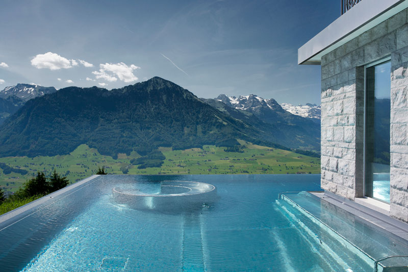 stairway to heaven infinity pool hotel villa honegg switzerland 7 twistedsifter. Black Bedroom Furniture Sets. Home Design Ideas