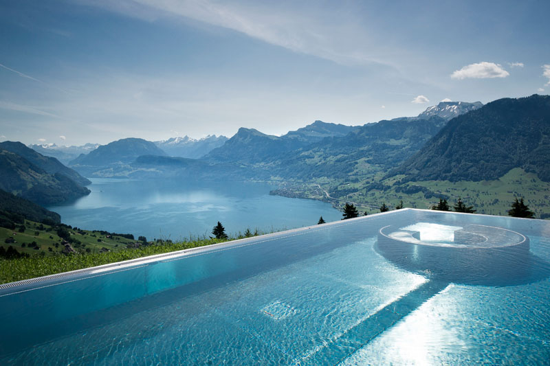 stairway to heaven infinity pool hotel villa honegg switzerland 8 People are Calling This Rooftop Infinity Pool in the Swiss Alps the Stairway to Heaven