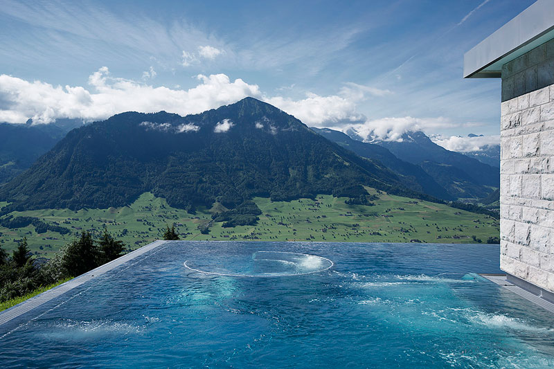 stairway to heaven infinity pool hotel villa honegg switzerland 9 People are Calling This Rooftop Infinity Pool in the Swiss Alps the Stairway to Heaven