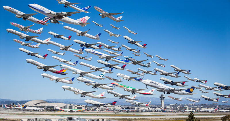 These Composites of Planes Taking Off and Landing Show How Connected the WorldIs