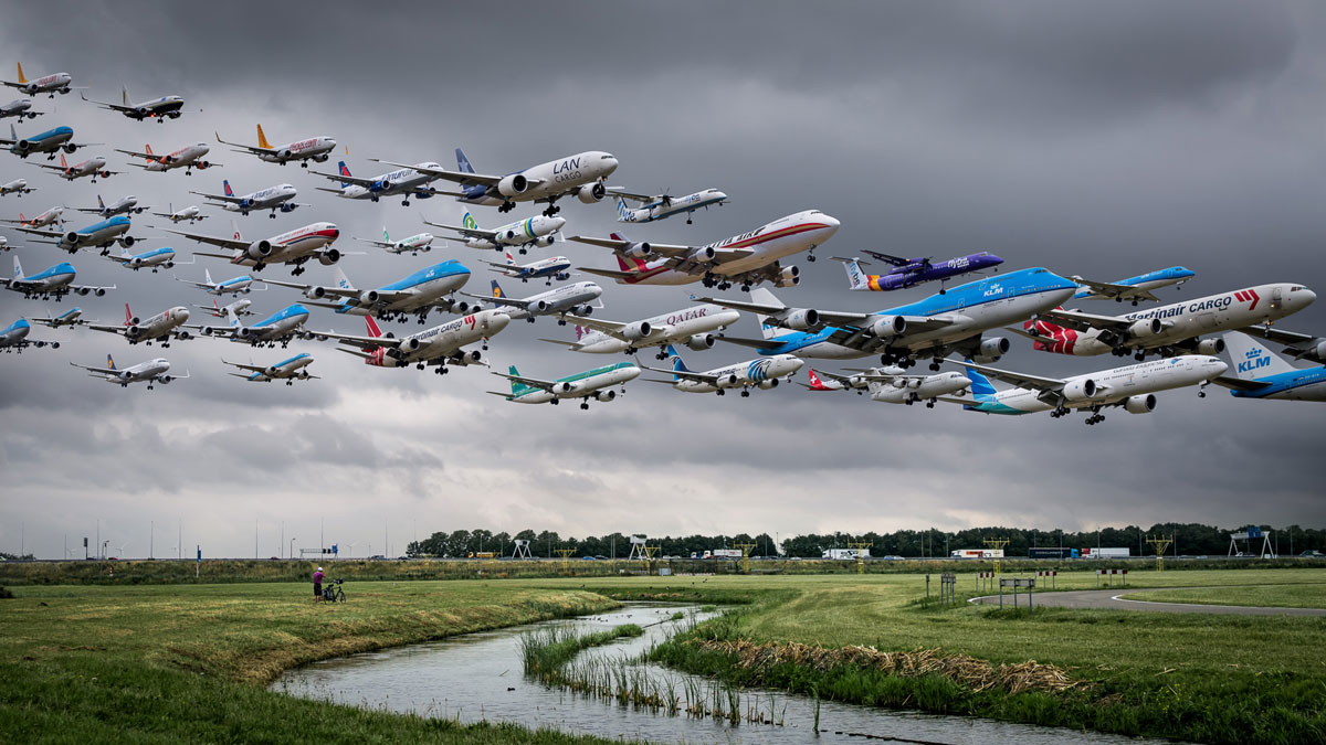 these composites of planes taking off and landing show how