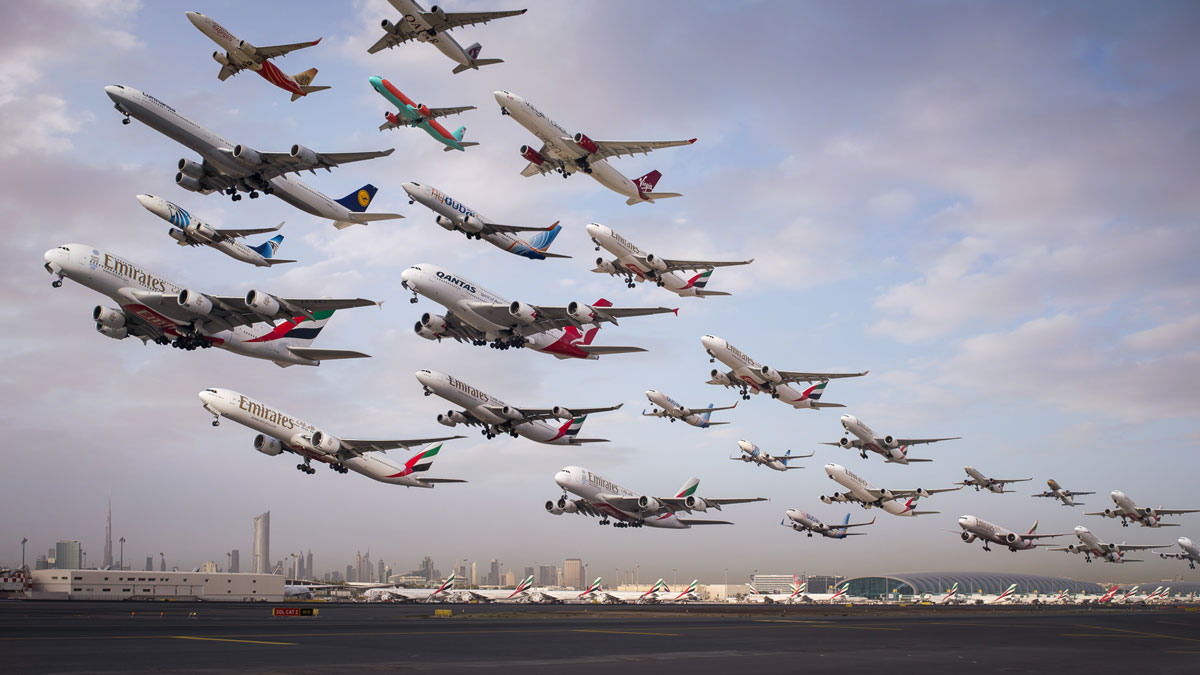 dubai international 12r morning heavy departures These Composites of Planes Taking Off and Landing Show How Connected the World Is