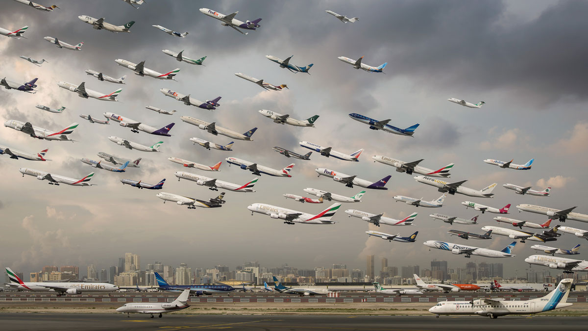 dubai international 30r sharjah These Composites of Planes Taking Off and Landing Show How Connected the World Is