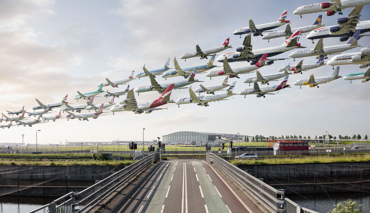 these composites of planes taking off and landing show how connected