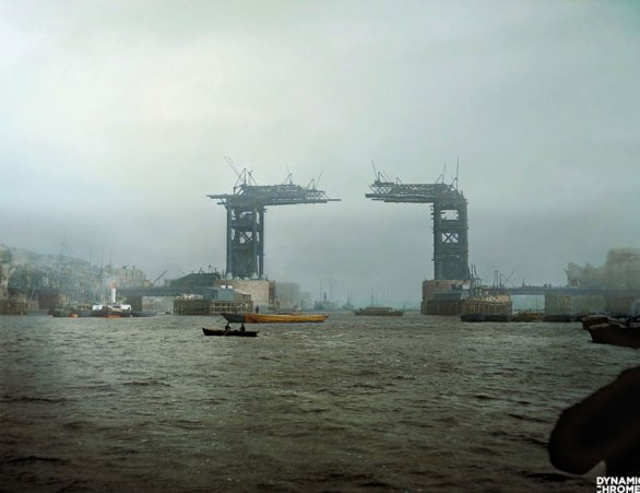 Picture of the Day: Colorized Photo of the Tower Bridge Under Construction, 1889