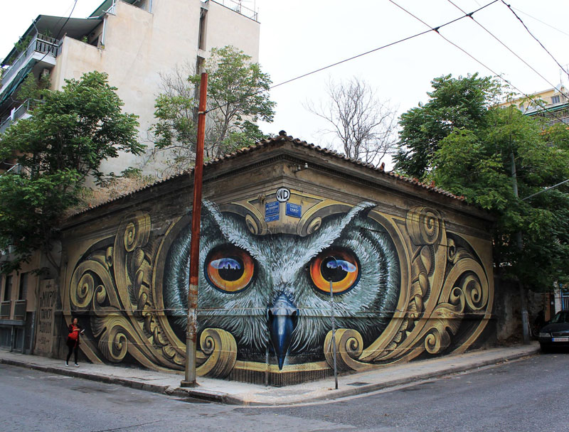 owl mural athens greece by wd street art 2016 1 Artist Completely Transforms Intersection with Incredible Owl Mural