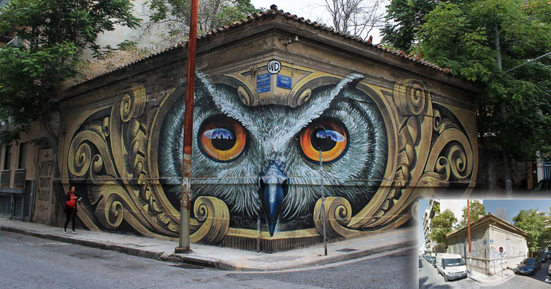 Artist Completely Transforms Intersection with Incredible Owl Mural