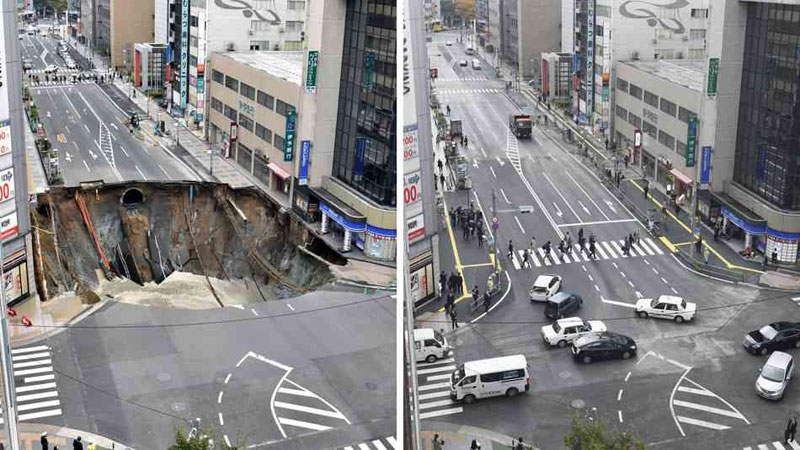 Monster Sinkhole in Japan Repaired in 48 Hours
