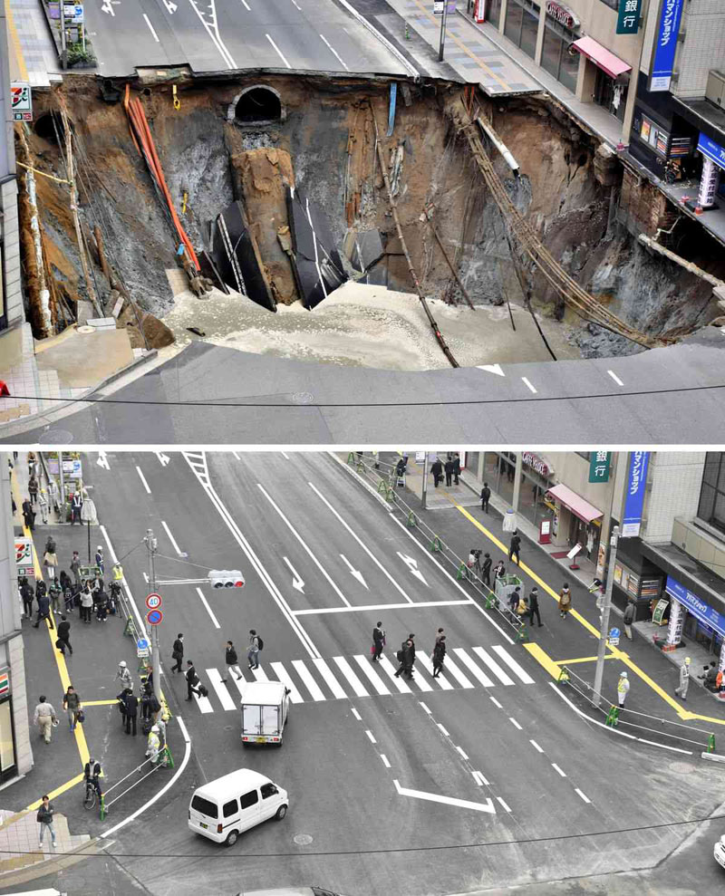 sinkhole in japan fixed in 48 hours 2 Monster Sinkhole in Japan Repaired in 48 Hours