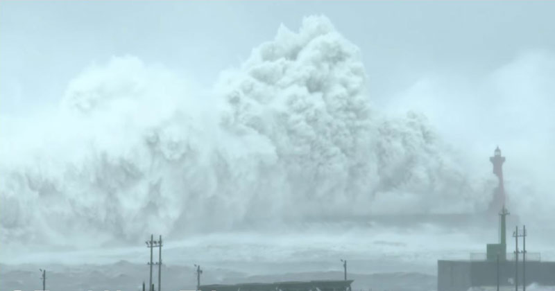 Check Out the Size of the Waves Typhoon Megi Unleashed on Taiwan LastMonth