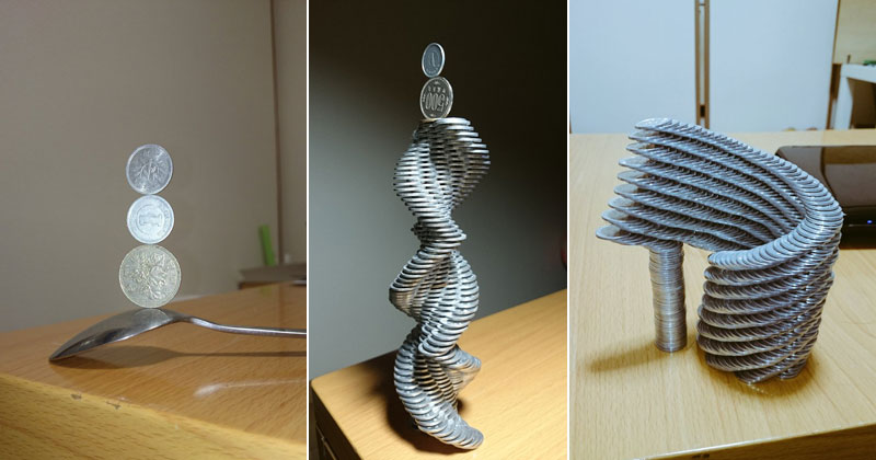 Next-Level Coin Stacking by @Thumb_Tani