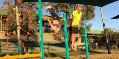 Awesome Dad Tries His Darndest to Copy His Daughter's Gymnastics Moves