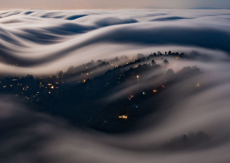 fog waves by nick steinberg 9 Photographer Captures Fog Waves That Look Like Oceans in the Sky