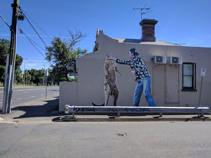 man punches kangaroo street art melbourne australia by lush sux Picture of the Day: Art Imitating Life