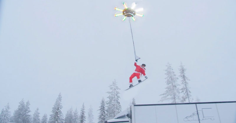 Snowboard Flying With a Drone