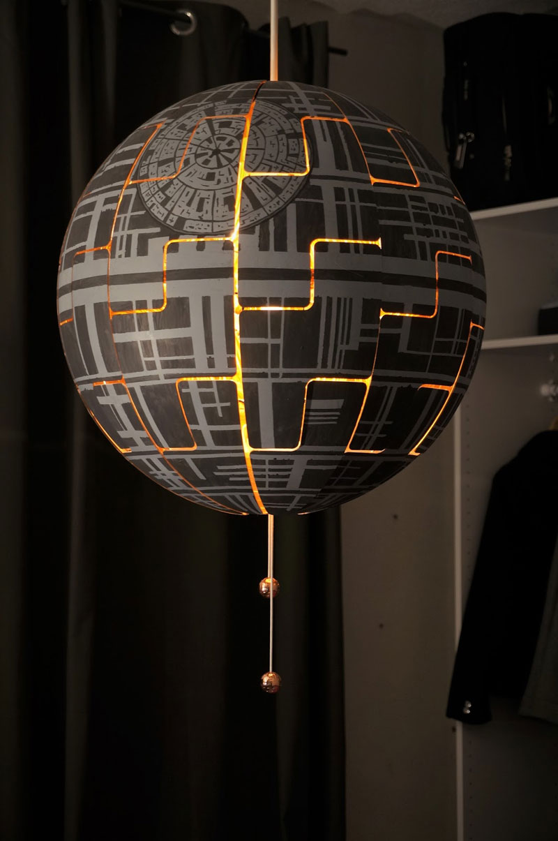 ikea death star lamp diy 12 Star War Fans Turn Popular IKEA Lamp Into Death Star