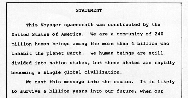 In 1977 Jimmy Carter Put This Note on the VoyagerSpacecraft