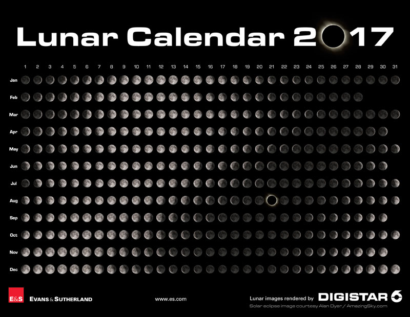 lunar calendar 2017 by evans and sutherland Moon Calendars for 2017