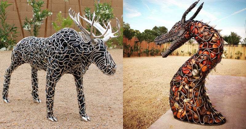 Incredible Sculptures Made from Metal and River Rock