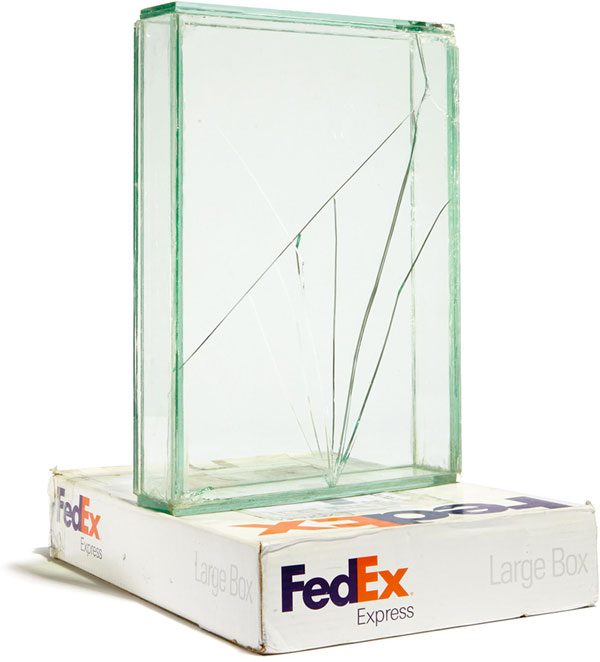 shipping glass boxes with fedex by walead beshty 1 This Guy Shipped Glass Boxes Inside FedEx Packages and Exhibited the Results