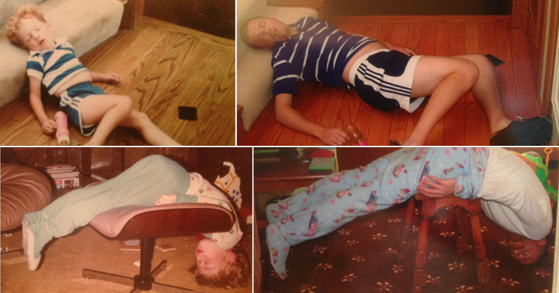 These Siblings Recreated Funny Photos of Them Passed Out as Kids and It'sHilarious