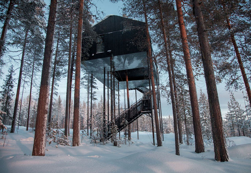 The Newest Room at Sweden's Treehotel has an Outdoor Net With a Tree Through It