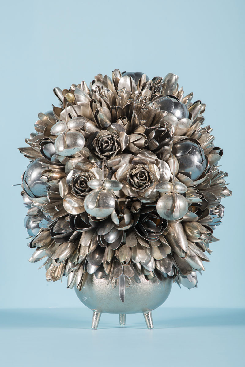 bouquets made from old silverware by ann carrington 1 Ann Carrington Makes Beautiful Bouquets from Old Silverware