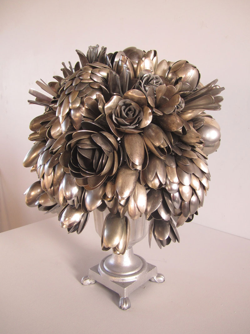bouquets made from old silverware by ann carrington 5 Ann Carrington Makes Beautiful Bouquets from Old Silverware