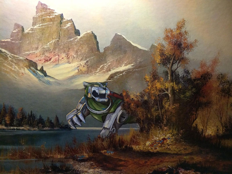 dave pollot paints characters from games movies and shows into discarded paintings 3 Dave Pollot Paints Your Favorite Characters Into Discarded Paintings