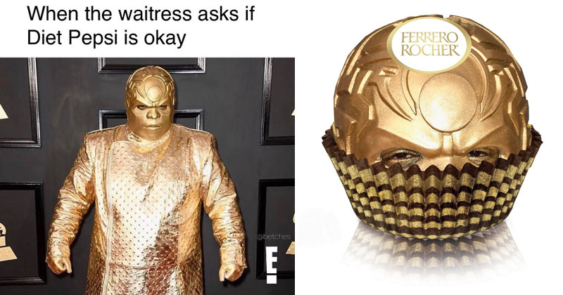 gold ceelo green grammy meme ceelo green wore an all gold outfit to the grammys and the