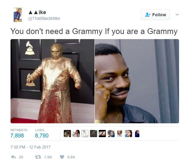 gold ceelo green meme 12 CeeLo Green Wore an All Gold Outfit to the Grammys and the Internet Went to Town