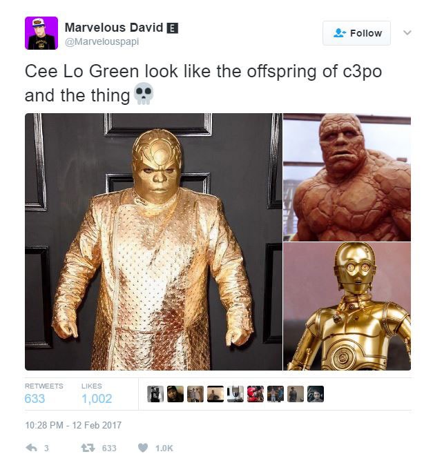 gold ceelo green meme 15?w=627&h=671 ceelo green wore an all gold outfit to the grammys and the