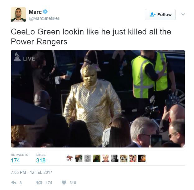 gold ceelo green meme 16 CeeLo Green Wore an All Gold Outfit to the Grammys and the Internet Went to Town