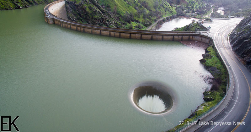 Drone Captures Lake Berryessa Glory Hole Spillway Overflowing For First Time In A Decade