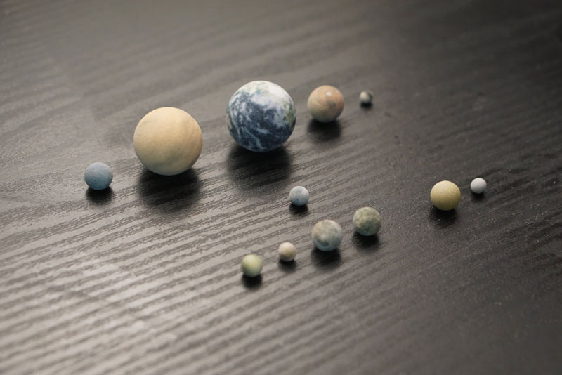 3d printed scale model solar system by little planet factory 8 3D Printed, Scale Model of the Solar System Fits in the Palm of Your Hand