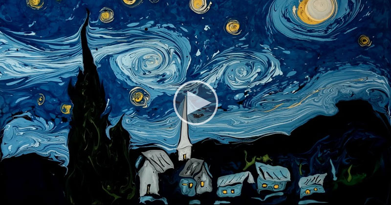 Amazing Artist Paints Van Gogh's Starry Night on Water