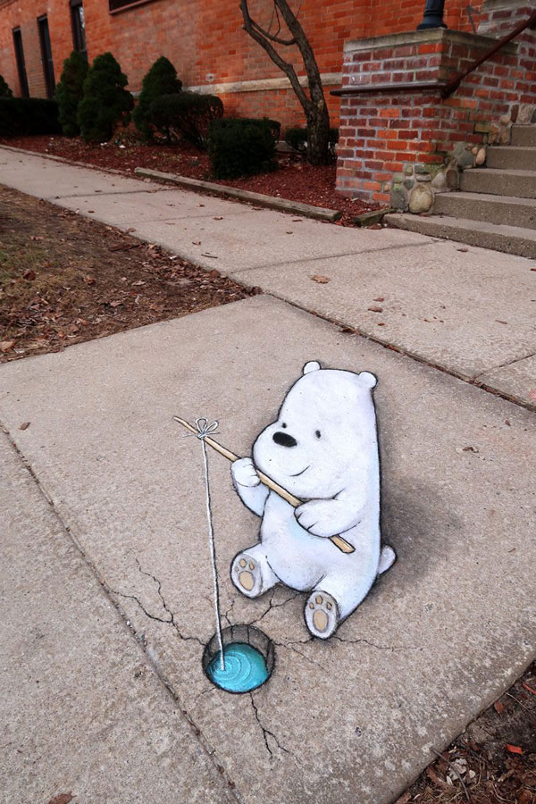 chalk art by david zinn 14 David Zinn Uses Chalk to Brighten Peoples Days