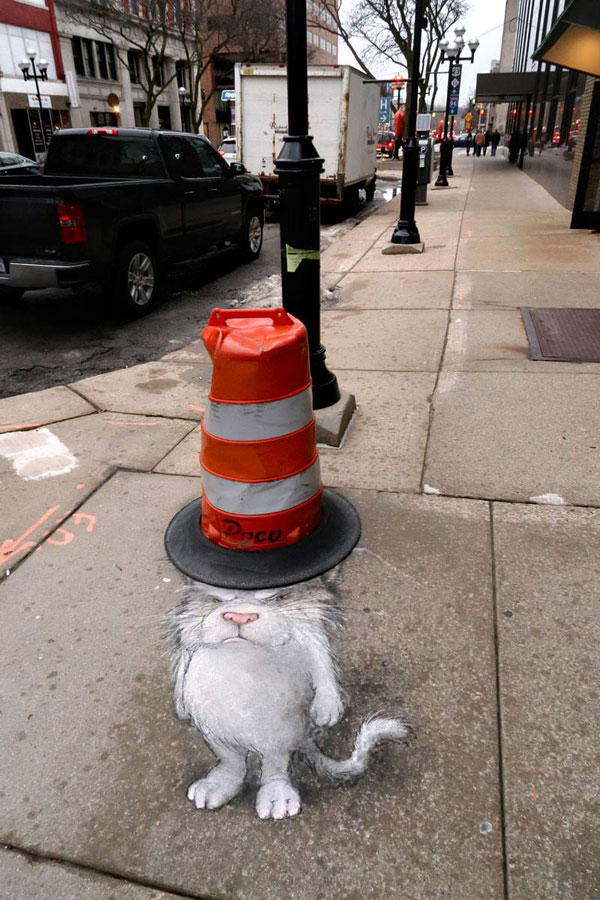 chalk art by david zinn 5 David Zinn Uses Chalk to Brighten Peoples Days