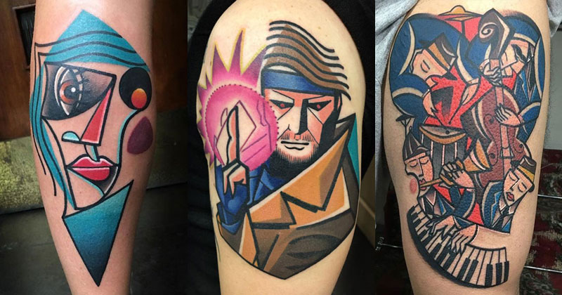 18 Awesome Abstract and Cubist Style Tattoos by Mike Boyd