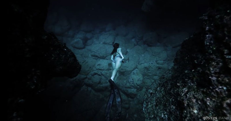 This Steadicam Shot of a Free Diver Going Through an Underwater Cave is Awesome