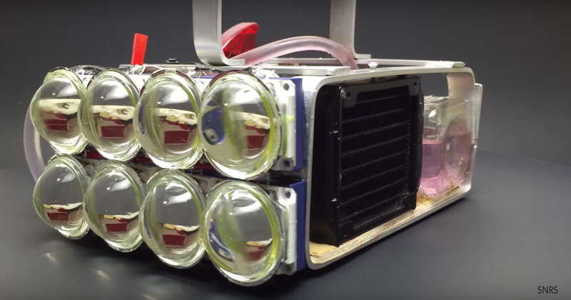 Guy Builds Water Cooled, 72,000 Lumen LED Flashlight and Takes it for a Nighttime Stroll
