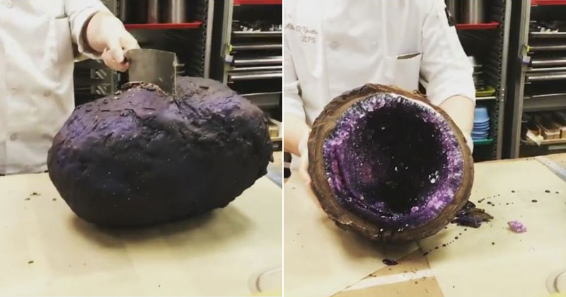 chocolate covered rock candy geode Two Culinary Students Made Gigantic, Chocolate Covered Rock Candy Geodes and I Want Them