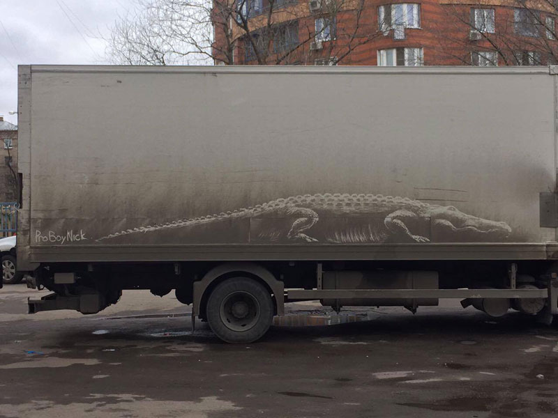 dirty car art by nikita golubev 1 Nikita Golubev Turns Dirty Cars Into Works of Art