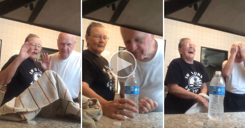 Adorable Grandma Pulls the Water Bottle Coin Prank on Her Husband